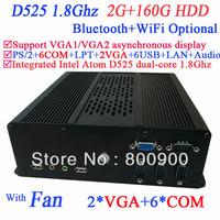 Hot Sale HTPC Mini pc computer with 2 VGA 6 COM Intel Atom D525 dual core 1.8Ghz 2G RAM 160G HDD with 3G Module WiFi Bluetooth
