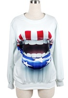 Free Shipping 2014 New European Women mouth print Loose Pullovers Fashion Sweatshirts 3D Sweaters Hoodies Women Tops