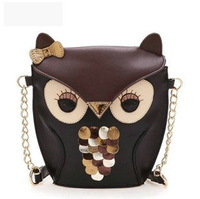 Free Shipping 2014 new fashion women messenger bag cartoon owl,woman leather shoulder bag morer  # 405