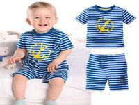 Hot sale new 2014 summer fashion O-Neck high quanlity clothing set striped T shirt + kids pants baby boy clothing Free shipping