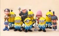 10 pcs/set Despicable Me 2 Figures 3D Eye D Minion Toys retail Free Shipping