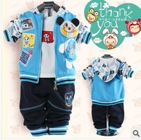 free shipping Boys 2014 spring models panda models baby sweater three children suit hoodie and pant tshirt