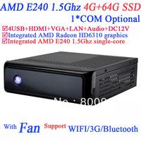pc mini AMD E240 1.5GHz Windows Linux ubuntu install 4G RAM 64G SSD HDMI VGA AMD Radeon HD6310 graphics support 1080P HD screen