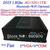 High Performance Mini PC Computers iTX with 2 VGA 6 COM Intel Atom D525 dual core 1.8Ghz 4G RAM 32G SSD 1TB HDD