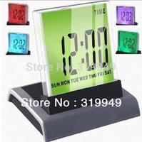 High Quality 7 Color Change Mini Desktop Digital LCD Thermometer Calendar LED Alarm Clock Free shipping