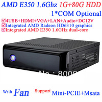 Thin Mini-ITX-based PC Computer with Fan AMD E350 1.6GHz dual core AMD Radeon HD6310 graphics HDMI VGA 12V DC 1G RAM 80G HDD