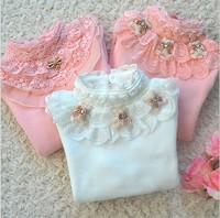 2014 Spring Girl's T-shirt Female Child Basic Shirt Cotton Little Girl Tops Child Lace Turtleneck for 2--9 years