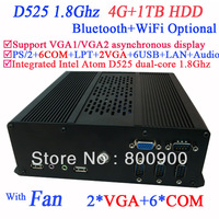 industrial computer mini itx terminal with 2 VGA 6 COM Intel Atom D525 dual core 1.8Ghz 4G RAM 1TB HDD with LVDS supported