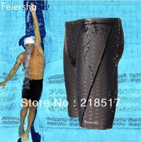 Wholesale Hot sale sharkskin,water repellent,men's long racing swimming swim trunks Sport shorts classic men swimwear D-1228