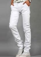 Hot-selling 2014 Korean Style New Fashion Mens Designer Jeans Famous Brand Cotton Denim Straight Pants White Jeans Men Brand