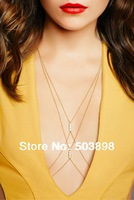B133 Bikini Harness Chain Imitation Pearls  Body Chain Fashion Jewelry Short Necklace Metal Chains Gold Silver Choose