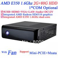 2014 HTPC & Mini-PC Computer with Fan AMD E350 1.6GHz dual core AMD Radeon HD6310 graphics HDMI VGA 12V DC 2G RAM 80G HDD