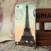 Hot sale quality  paris Eiffel Tower  Retro style Hard Case Cover for iphone 5S 5 4S 4