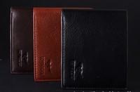 New 2014 Men's Genuine leather Casual wallets Men Short Wallet Card Holder Designer Cowhide Brown Black Man Purse Free Shipping