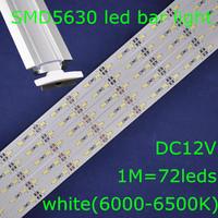 20sets/lot, SMD5630 white 6000-6500K DC12V 1m 72leds led rigid bar strip light + waterproof U shape profile aluminum slot + caps