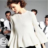 Skirt sweater cashmere sweater short design sweater dress basic shirt sweater female ruffle sweep