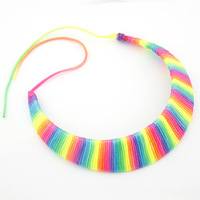 Brand New Rainbow Design Mental Torques Chunky Necklaces & Pendants Collier Choker for Women Costume Items