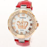 Reloj Watches Woman 2013 New Brands Rhinestone Bracelet Dress Watch Crown Famous Free Shipping