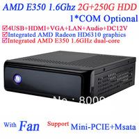 Free Shipping Mini-ITX Computers with Fan AMD E350 1.6GHz dual core AMD Radeon HD6310 graphics HDMI VGA 12V DC 2G RAM 250G HDD