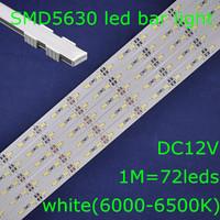 20sets/lot, SMD5630 white 6000-6500K DC12V 1m 72leds led rigid bar strip light + waterproof U shape aluminum slot with end cap