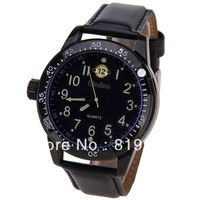 Free shipping Oulm 8057 Men Watch 12 Arabic Numbers Hour Marks with Round Dial Leather Watchband (Black)