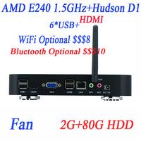 Free shipping small computer AMD E240 1.5GHz 2G RAM 80G HDD Windows or Linux ubuntu Radeon HD6310 graphics AMD Hudson D1 chipset