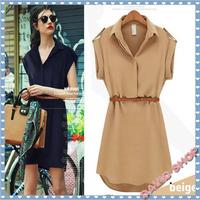 2014 Fashion Women Ladies short Sleeve Chiffon Casual OL Belt Shirt One Piece Mini Dress  M L XL Plus Size Free Shipping