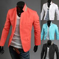 2014 new men neckline contrast color Casual linen  suit jackets