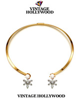 New Arrival Women's Fashion Necklace Vintage Hollywood Gem Flower Pearl Gold Plated Necklace Female Accessories