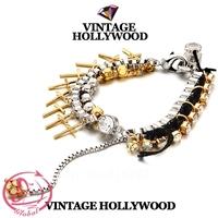 Women's Fashion Bracelet Vintage Hollywood Cross Rhinestone Tassel Knitted Bracelet High Quality Crystal Gold Plated Bracelet