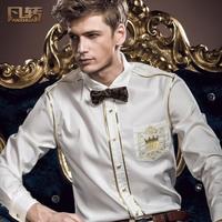 Royal men's clothing 2014 spring new arrival male slim white shirt fashion embroidered fashion male slim shirt 14202