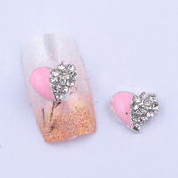 20pcs/lot 3D big clear rhinestones pink heart nail art decoration