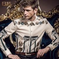 Royal men's clothing 2014 spring male slim floral print shirt male slim shirt slim male slim 14211