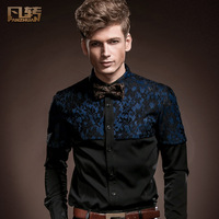 Royal men's clothing 2014 spring male slim personality long-sleeve shirt patchwork shirt slim male slim 14205