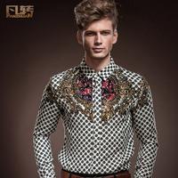 Royal men's clothing 2014 spring male slim decorative pattern shirt color block personality slim casual shirt 14214