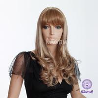 long blond women hair wig with a bang kanekalon european wigs 3295B