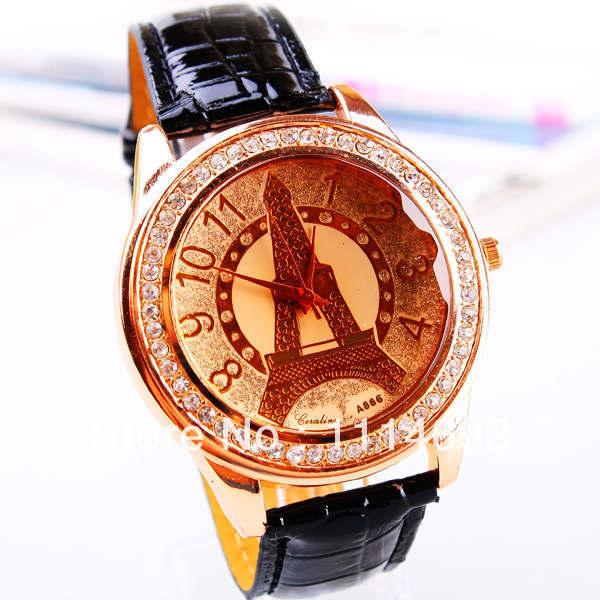 Fashion Women Elegant Lady Quartz Leather Strap Diamond Face Hot Sale Vogue High Quality Watch(China (Mainland))