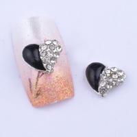 20pcs/lot 3D big black clear rhinestones heart nail art decoration
