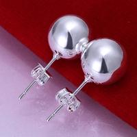 10 Pairs 925 silver Women's 10MM WIDE Beads of ear butyl earrings ,factory Lowest  Wholesale 925 silver earrings,