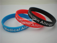 Medical Alert! Penicillin Allergy Wristband, Silicon Bracelet, Adult, 3 Colours, Promotion Gift, 100PCS/Lot, Free Shipping
