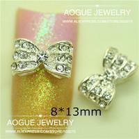 20pcs/lot 8*12mm 3D clear rhinestones bowknot nail art decoration