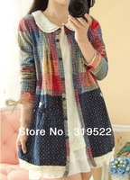 Exothic vintage women 2014 cotton  blouse  long casual  plaid polka dots blouse cardigan