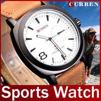 2014 New Fashion Brand Curren Genuine Leather Strap Watch Clock Men Quartz Sport Watch For Man Military Wristwatch Waterproof
