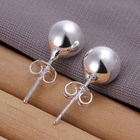 10 Pairs 925 silver Women's 8MM WIDE Beads of ear butyl earrings ,factory Lowest  Wholesale 925 silver earrings,