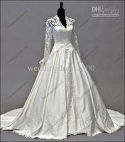 white  ivory  lace long sleeve wedding dress size custom