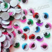 2000PCS/LOT,2cm colorful eyelash wiggle eyes,Plastic eyeball,Doll eyes,Craft material Handmade toys,Craft work,Wholesale
