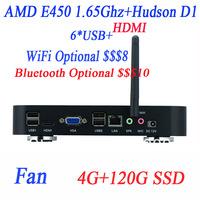 custom gaming pc with LVDS HDMI VGA AMD E450 1.65GHz dual-core CPU 4G RAM 120G SSD Windows or Linux ubuntu AMD Hudson D1 chipset