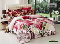 new arrival free shipping drop shipping hot sale 4pcs lily flower printed flat sheet set bed linen duvet cover bedding set