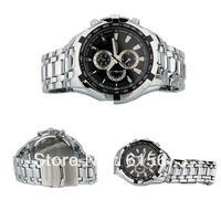 Vogue Curren Quartz Hour Black Dial Clock Sport Mens Stainless Steel Wrist watch