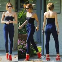 Hot Sale Sexy American Apparel High Waist Zipper Skinny Jeans, Fashion AA Deep Blue Black Stretchy Denim Pencil Trousers Pants